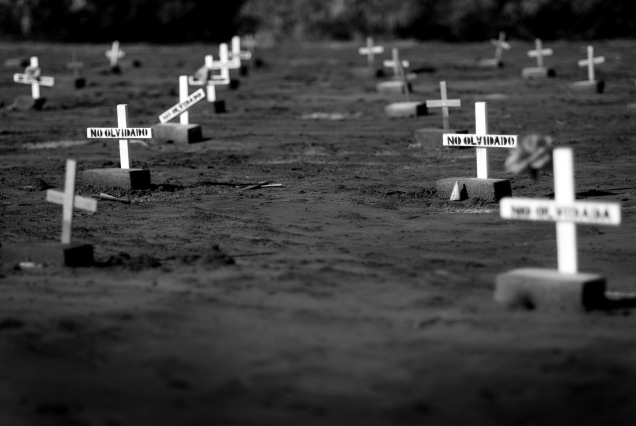 Crosses mark the graves of uknown immigrants that died in the desert, CA.